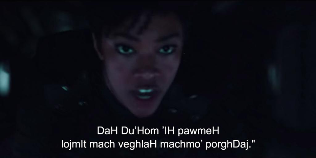 Screenshot aus DSC mit klingonischen Untertiteln